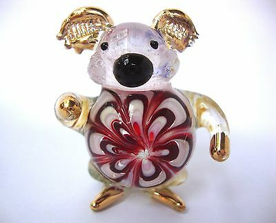 KOALA Color Hand Blown Glass Figurine Art With Gold Trim
