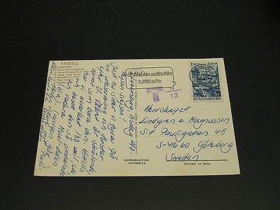 Luxembourg 1977 postage due postcard to sweden *20322