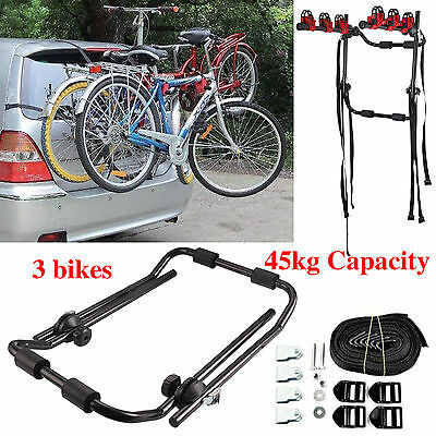 U Type Bicycle Carrier Auto Rack Mount Fits Most Cars Rear For 3 Bikes