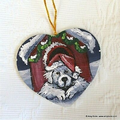 GREAT PYRENEES CERAMIC HEART SHAPE  ORNAMENT by Amy Bolin BELIEVE