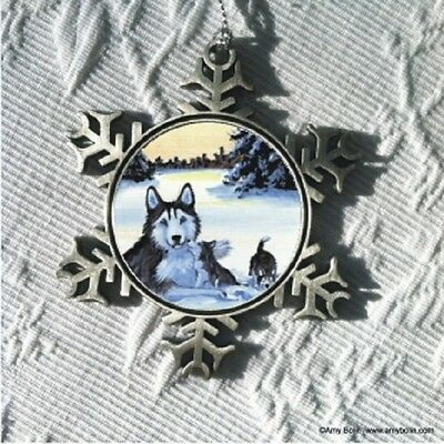 WINTER MORNING BLUE HUSKY DOG Pewter Snowflake Christmas Ornament by Amy Bolin
