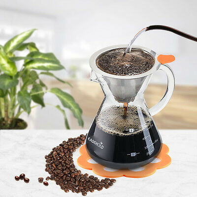 Easehold Handle Pour Over Coffee maker with Stainless Steel Filter 500ml/3 Cups