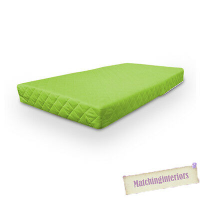 Lime Quilted Colourful Luxury 100% Cotton Twill Cot Mattress 60 x 120 x 10cm