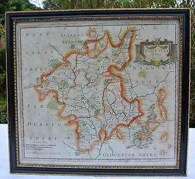 Original Antique 1695 R. Morden Engraved Hand Coloured Map Worcestershire Framed