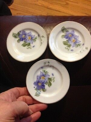 "Set Of 3 Vintage White 3 1/2"" Butter Pats Periwinkle/lavender Flowers"