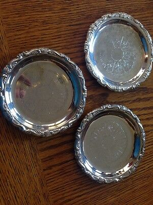 Lot Of 3 Silver Plated (EP on Steel) Round Etched Embossed Coasters - Italy