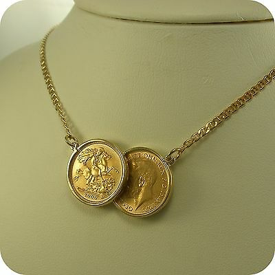 """Genuine two Half-Sovereign Coins 9 carat Gold 16"""" Necklace as Holly Willoughby's"""