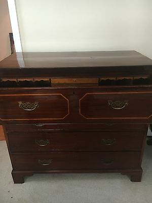 George Iii Period Antique English Bureau Chest Desk Circa 1780!