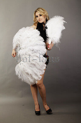 "Single layer Ostrich Feather Fan white 25""x 45"" with gift box Burlesque"