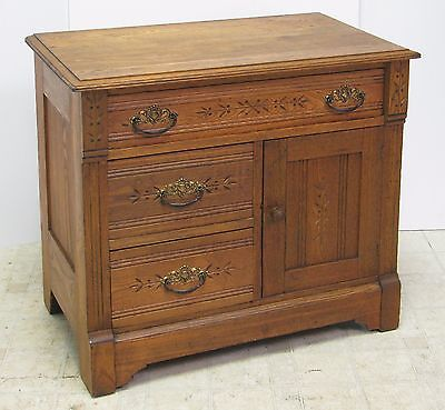 Antique Solid Golden Oak Commode or Nightstand - VGC - Great for Small Space