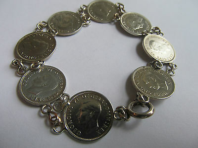 VINTAGE SILVER BRACELET1940'S MADE FROM SILVER 3 PENNY COINS, KING GEORGE THE Vl