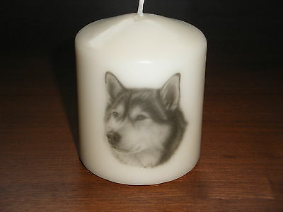 Candle Picture of Alaskan Malamute Dog Can be Personalised Birthday Love New