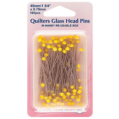 Quilters Glass Head Pins: Nickel - 45mm, 100pcs