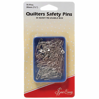 Sew Easy  Quilters Safety Pins Open-Plated 30mm  70pcs
