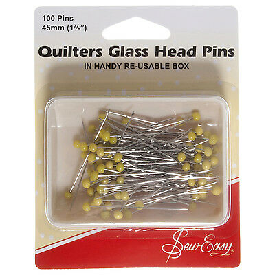 Sew Easy Quilters Glass Headed Pins 45mm 100pcs