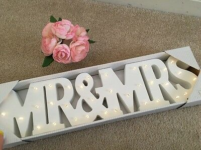 Wooden Mr And Mrs Light Up LED Sign Table Decoration Free Standing