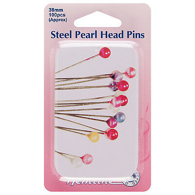 Hemline Pearl Head Nickel Plated Steel Pins 38mm 100pcs - Assorted With Slide To