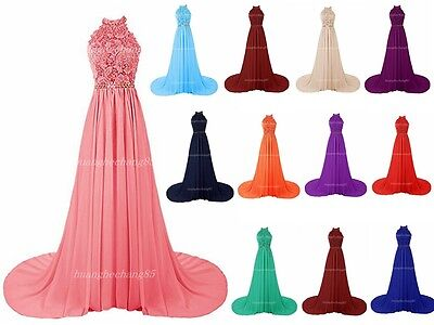 Halter Long Prom Dresses Bridesmaid Wedding Party Formal Evening Gown Stock Size