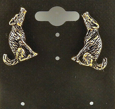 Gold Coyote 3D post earrings with surgical steel post