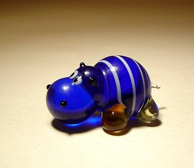 Blown Glass Figurine Small Blue with White Stripes Hippo HIPPOPOTAMUS
