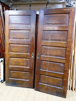 PAIR of PINE POCKET DOORS w/ALL HARDWARE CIRCA 1870 (5767-A)