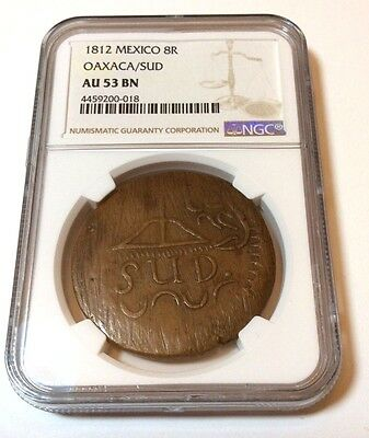 1812 MEXICO 8 reales OAXACA NGC graded AU53 KEY DATE, TOP GRADED copper SUD