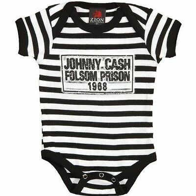 Official Johnny Cash - Folsom Stripes - Baby Grow Romper (Ages 0-24 Months)