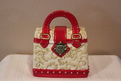DAVIDS COOKIES ~ PURSE SHAPED CERAMIC COOKIE JAR ~ Red and Gold