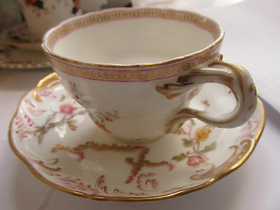 ANTIQUE MARRIAGE CUP and SAUCER HAND PAINTED C1880  COLLECTABLE, CABINET DISPLAY