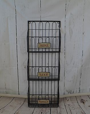 Rustic Metal 3 Compartment Magazine/Mail/Letter/Post Rack - Home, Live, Family