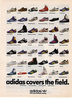 """1980 Adidas Shoe Collection """"Adidas Covers The Field"""" Vintage Print Advert."""