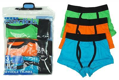 Boys Pack of 3 Neon Keyhole Boxer Style Briefs Trunks Underpants 4 to 13 Years