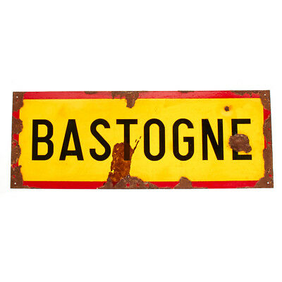 "WWII Aged Steel Sign - Bastogne (33"" x 12"")"