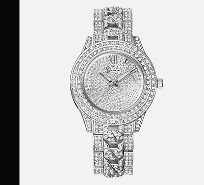 New Women's Watch Silver Stainless Watch Bling *