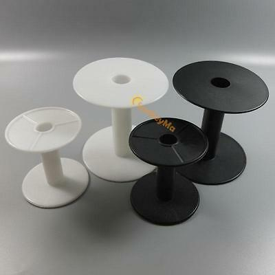 WHITE BLACK HARD PLASTIC Wire SPOOLS EMPTY Bobbin ROUND END for ribbon lace line
