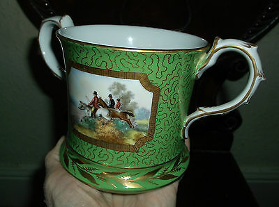 Rare Antique 19Th C 2 Handled Porcelain Hand Painted Hunting Scene Mug Coalport?