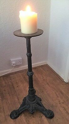 Vintage Ornate French floor standing Cast Iron  Candlestick
