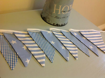 BLUE STAR STRIPE GINGHAM NURSERY BUNTING HANDMADE FABRIC baby boy vintage modern