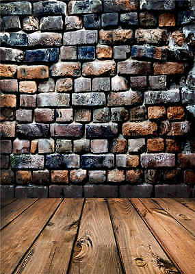 Brick Wall Photography Backdrops for Studio Wooden Floor Background Vinyl 5x7FT