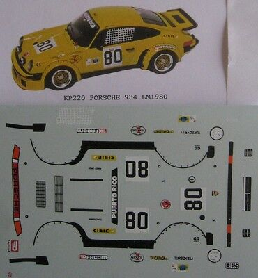 PORSCHE 934 n° 80 LE MANS 1980 DECAL 1/43e