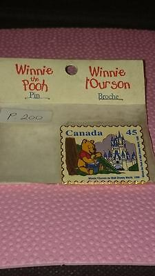 New 1996 Winnie The Pooh Walt Disney World Canada 45 Cent Stamp Pin (C)