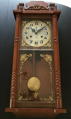 "Vintage SHVED 31 Day Mantle Clock Chime Key 28"" Tall x 12"" wide Made in Korea"