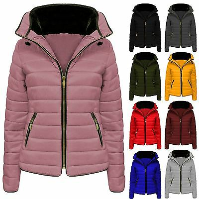 Ladies Jacket Coat New Fur Womens Collar Quilted Puffer Warm Padded Bubble 6-14