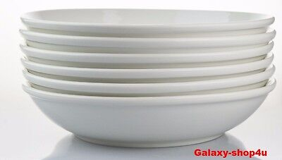 White Pasta Bowl Set 6 piece Soup Serving Dinner Large Dishes Salad Rice Serve