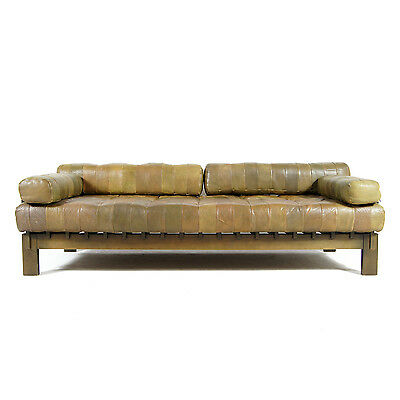 Retro Vintage Danish Leather Daybed Sofa Bed Studio Couch 50s 60s Scandinavian