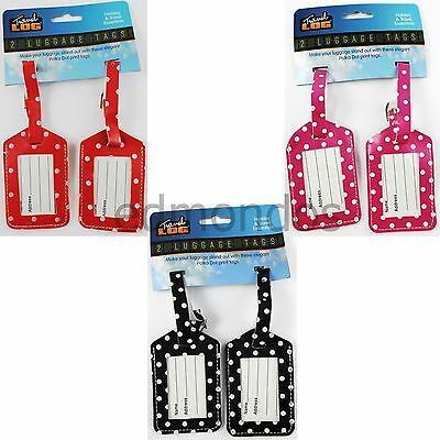 Pack Of 2 Polka Dot Luggage Labels/Suitcase ID Tags Name & Address For Travel