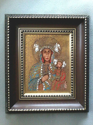 VINTAGE 24cts GOLD PORCELAIN BLACK MADONNA OF CZESTOCHOWA WALL ICON PLAQUE I