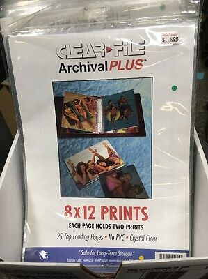 Clear File 25 8x12 - 2 Archival Print Preservers Pages (HOLDS 50 8x12 PHOTOS)