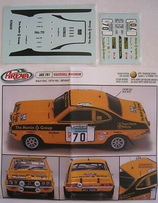 VAUXHALL MAGNUM n° 70 RAC RALLY 1974 HILL DECAL 1/43e