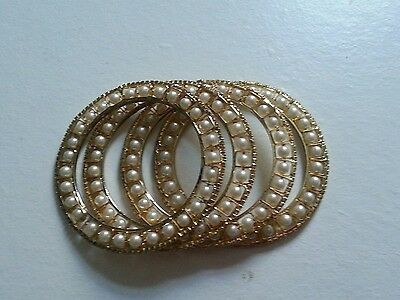 Bollywood Indian Jewellery/ Party wear/ 4 bangles/ gold, white pearl,diamond